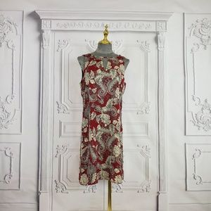 Pixley Dress Sleeveless Size M, Red w/ Gold